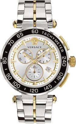 Versace Men's 45mm Greca Chrono Two-Tone Bracelet Watch