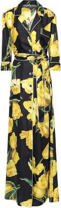 Dolce & Gabbana Floral-print Silk-twill Maxi Shirt Dress