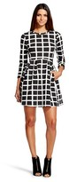 Women's Printed 3/4 Sleeve Crew Neck Dress Black and White - K by Kersh