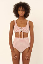 Mara Hoffman Terry Lace Up Front Tank Bikini Top