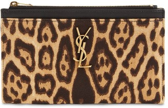 Saint Laurent Bill Leopard Print Cotton Canvas Pouch