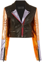 Haider Ackermann Black Metallic Panel Sleeve Biker Jacket