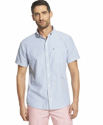 Izod Men's Breeze Short Sleeve Button Down Stripe Shirt