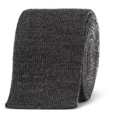 Thom Browne 5cm Striped Knitted Wool Tie - Gray