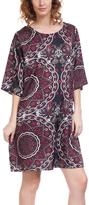 Burgundy Geometric Three-Quarter Sleeve Shift Dress