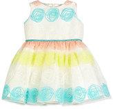 Helena Sleeveless Rosette Tulle Dress, White, Size 4-6