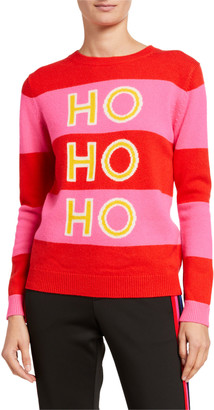 Chinti and Parker Ho Ho Ho Striped Wool-Cashmere Holiday Sweater