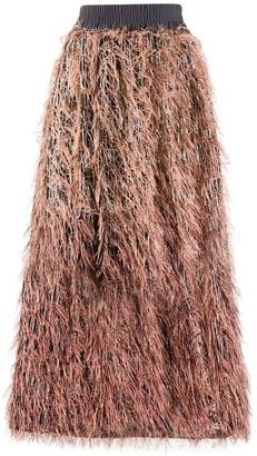 Fabiana Filippi Asymmetric Feathered Skirt