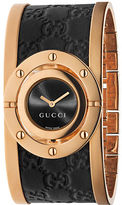 Gucci Ladies Pink Goldtone and Leather Bangle Watch