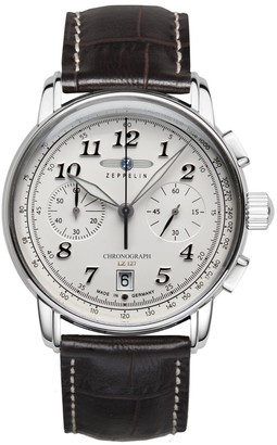 Zeppelin Men's Chronograph Quartz Watch with Leather Strap 8674-1