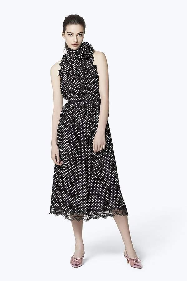 Marc Jacobs Dot Silk Sleeveless Midi Dress