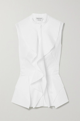 Alexander McQueen Ruffled Cotton-poplin Peplum Blouse - White
