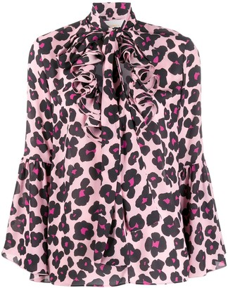 La DoubleJ x Mantero Carmen Flower Leopard Rosa shirt