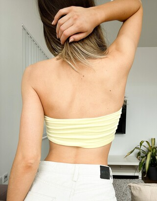 Monki Tube velour bandeau top in yellow mix & match co