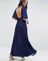 Asos Kimono Open Back Pleated Maxi Dress
