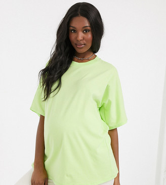 ASOS DESIGN Maternity super oversized t-shirt with batwing sleeve in lime