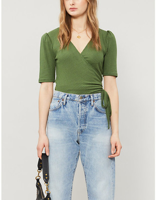 Reformation Rosebud wrap-over stretch-knit top