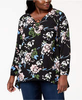 NY Collection Plus Size Printed Ring-Hardware Top