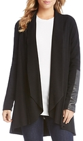 Karen Kane Open Cardigan with Vegan-Leather Trim