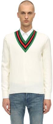 Gucci Web V-Neck Wool Knit Sweater