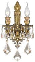 Worldwide Lighting Versailles 2-Light French Gold and Golden Teak Crystal Wall Sconce Light
