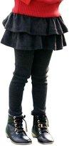 CM-Kid Little Girls Solid Stretch Skinny Pants Toddler Ruffle Leggings Skirt