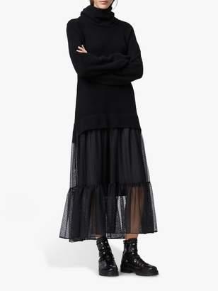 AllSaints Tula Wool Blend Roll Neck Jumper Dress, Black