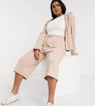Nike Plus premium tonal cropped wide leg sweatpants in beige