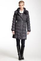 Via Spiga Genuine Dyed Rabbit Fur Collar Puffer Coat
