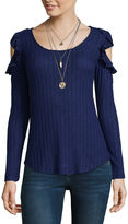 Self Esteem Long Sleeve Round Neck Knit Blouse-Juniors