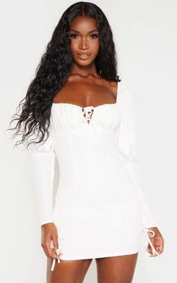 PrettyLittleThing White Puff Sleeve Lace Up Bodycon Dress