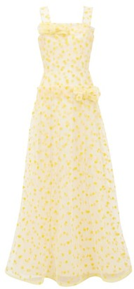 Rodarte Flocked Heart-print Dropped-waist Tulle Maxi Dress - Yellow