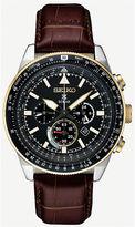 Seiko Solar Chronograph Mens Brown Strap Watch-Ssc632