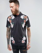 Asos Polo Shirt With Floral Chest Detail