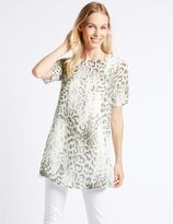 Marks and Spencer Animal Print Overlay Half Sleeve Tunic
