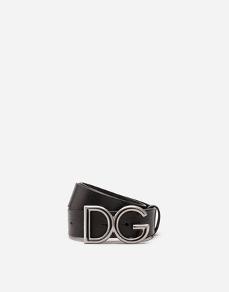 Dolce & Gabbana Tumbled Leather Belt With Logo