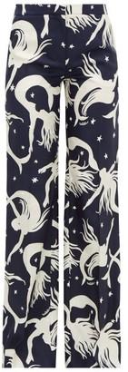 Valentino Mermaid-print Silk-twill Wide-leg Trousers - Womens - Navy