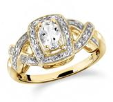 1/2 CT TW White Topaz Yellow Silver Halo Ring with Diamond Accents by JewelonFire
