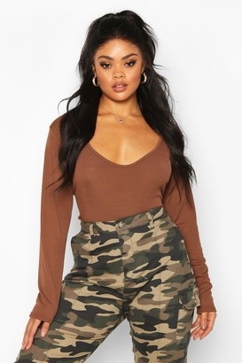 boohoo Plus Basic Plunge Rib Bodysuit