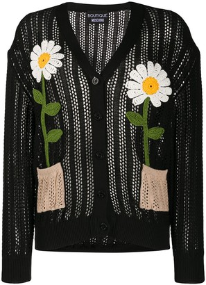 Boutique Moschino Knitted Flower Cardigan