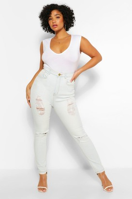 boohoo Plus Distressed High Waist Skinny Jean