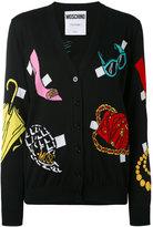 Moschino multi-pattern V-neck cardigan