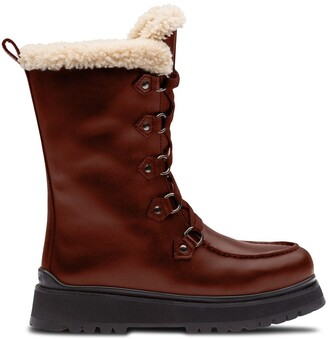 Miu Miu Mid-Calf Lace-Up Boots