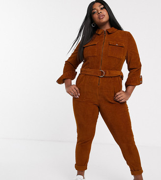 Simply Be cord boiler suit in rust
