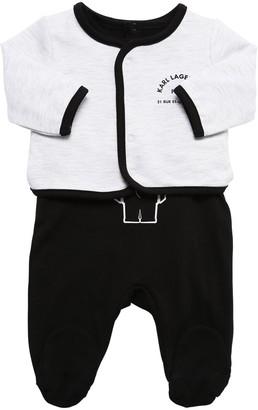 Karl Lagerfeld Paris Cotton Interlock Romper & Jacket