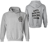 Partiss Unisex Anti Social Club Boys Girls Kanye West Casual Pullover Hoodie(Chinese XXL,)