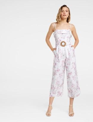 Forever New Roxanne Linen-Blend Strapless Jumpsuit - Watercolour Bloom - 16