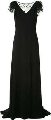 Paule Ka Mesh-Trim Evening Dress