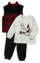 Kids Headquarters Boys 2-7 Sherpa Trimmed Fleece Vest, Tee and Sweatpants Set