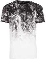 River Island Mens Big and Tall white glitch fade T-shirt